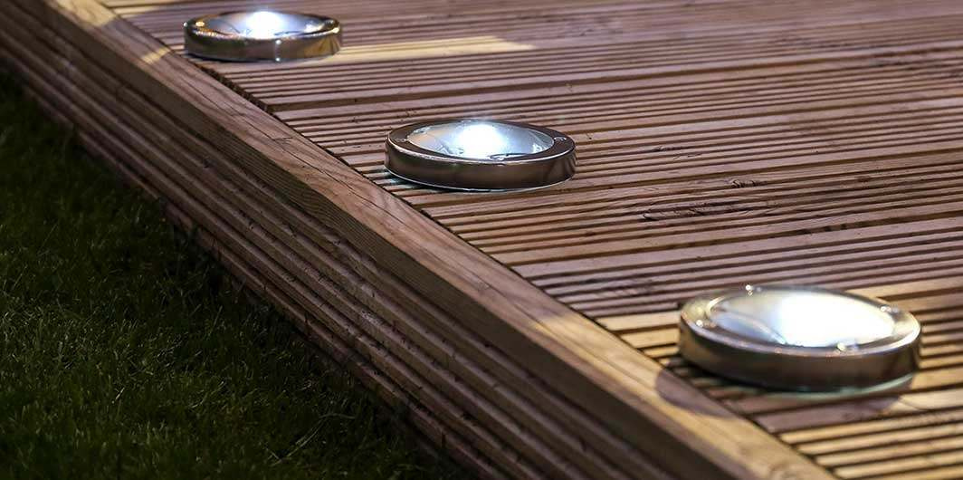Solar decking lights for decking and patios from festive lights