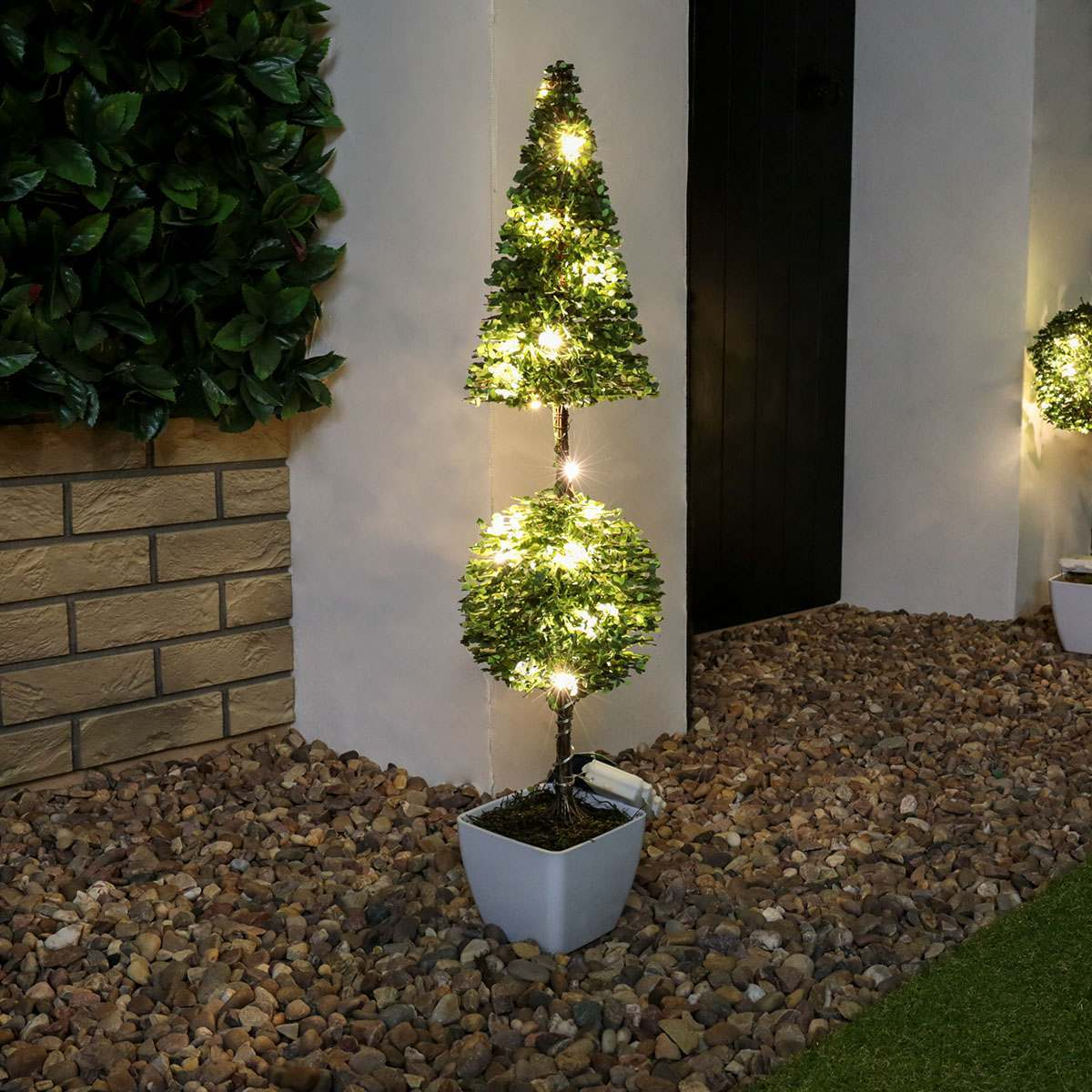 PreLit Outdoor Battery Potted Pointed Ball Topiary Tree 51cm