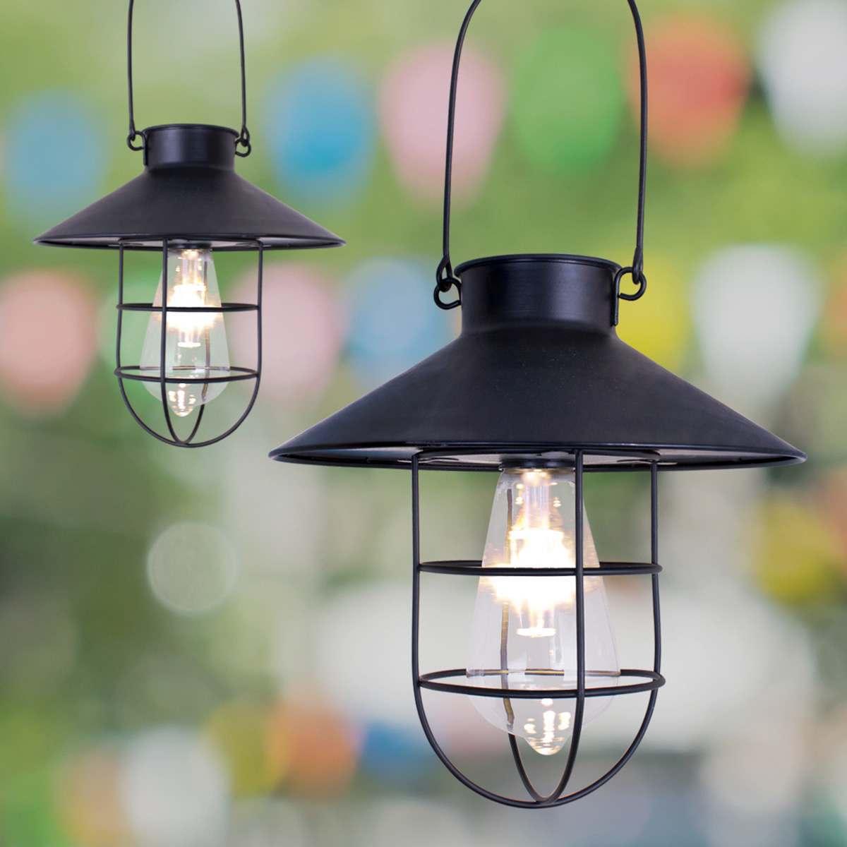 Solar Black Hanging Lantern
