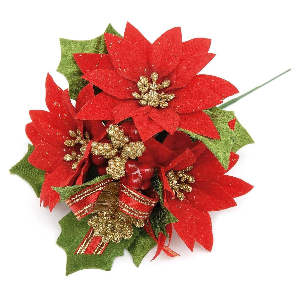 11cm Red Glittered Poinsettia Pick