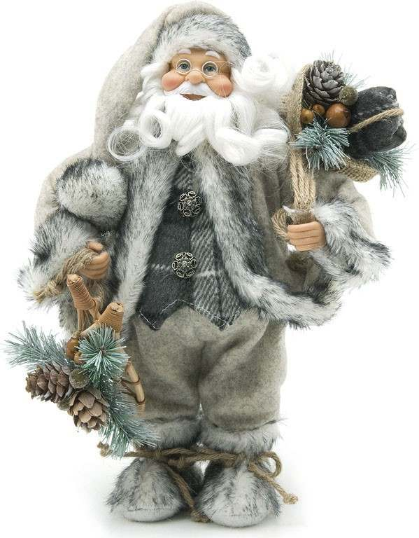 Click to view product details and reviews for 30cm Free Standing Santa In Grey Fur.