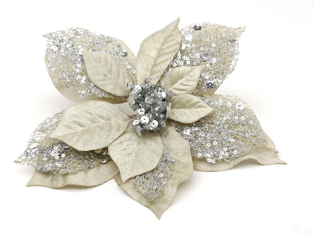 Silver Clip on Poinsettia Christmas Tree Decoration