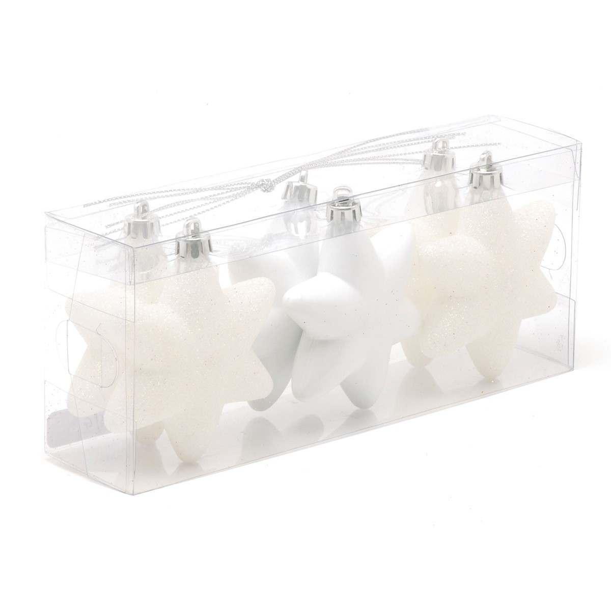 6 x 75MM Assorted Matt Glitter Shiny White Pearl Shatterproof Stars