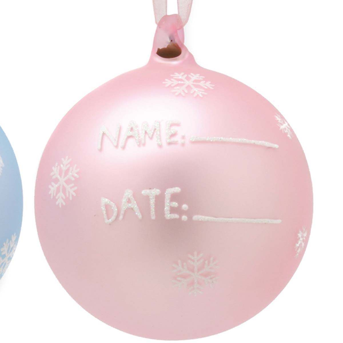 Baby Girl Christening Favors Glass Ornament: Baby's First Glass Ornament, Pink