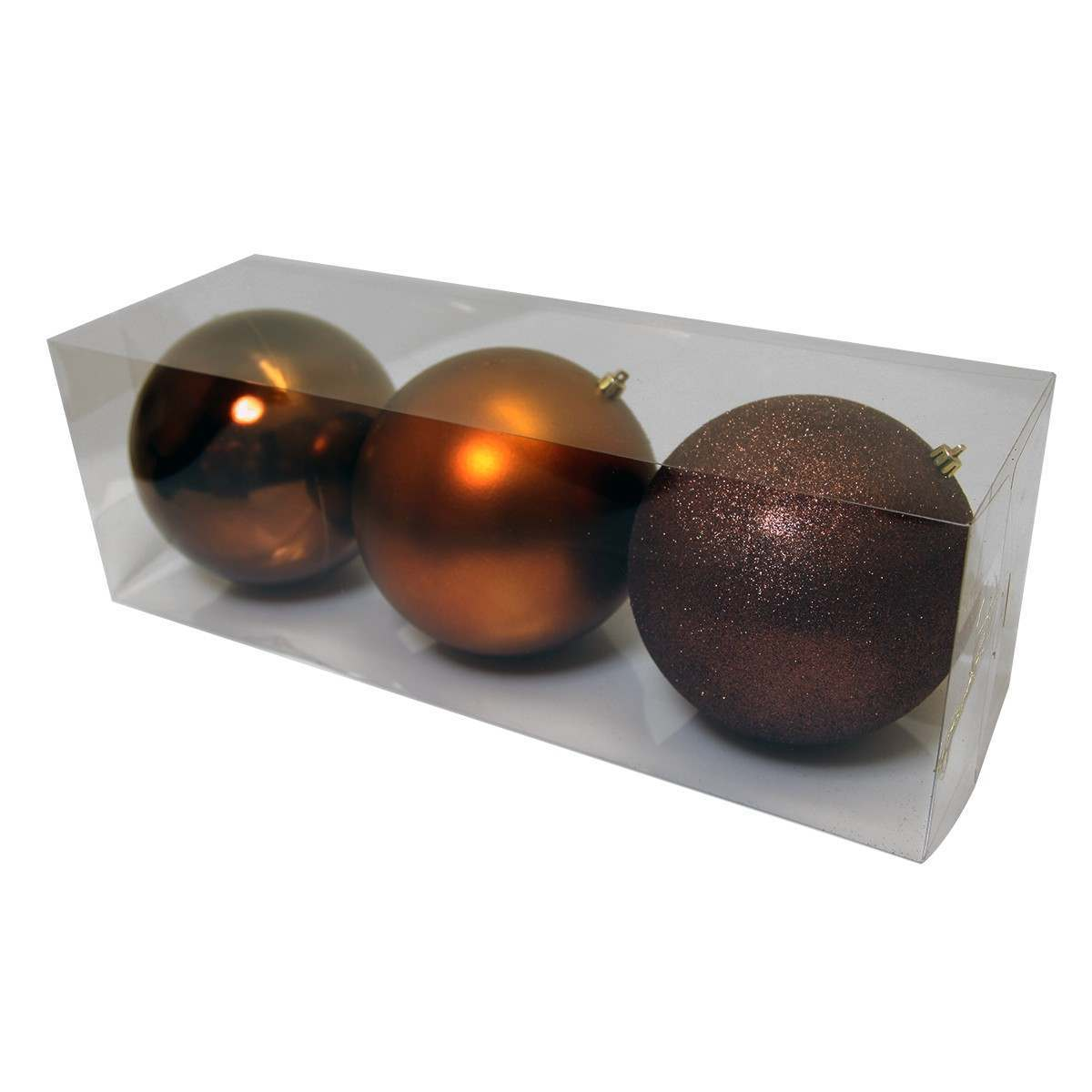 3 piece 150mm bauble pack, assorted finish Chocolate