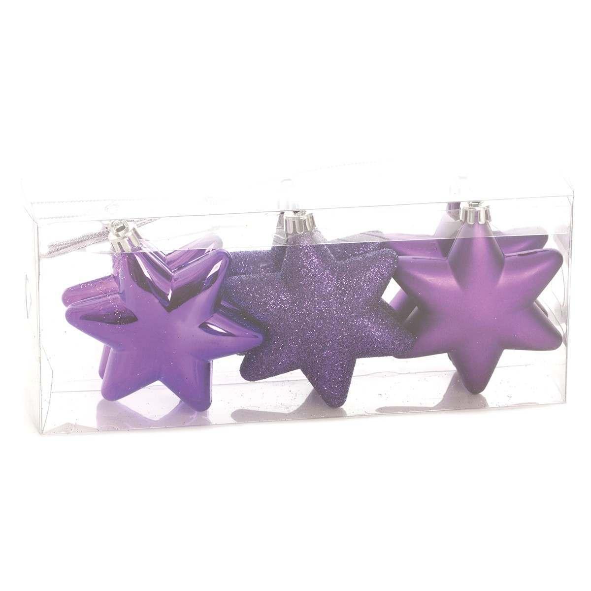 6 x 75MM Assorted Matt Glitter Shiny Regal Purple Shatterproof Stars