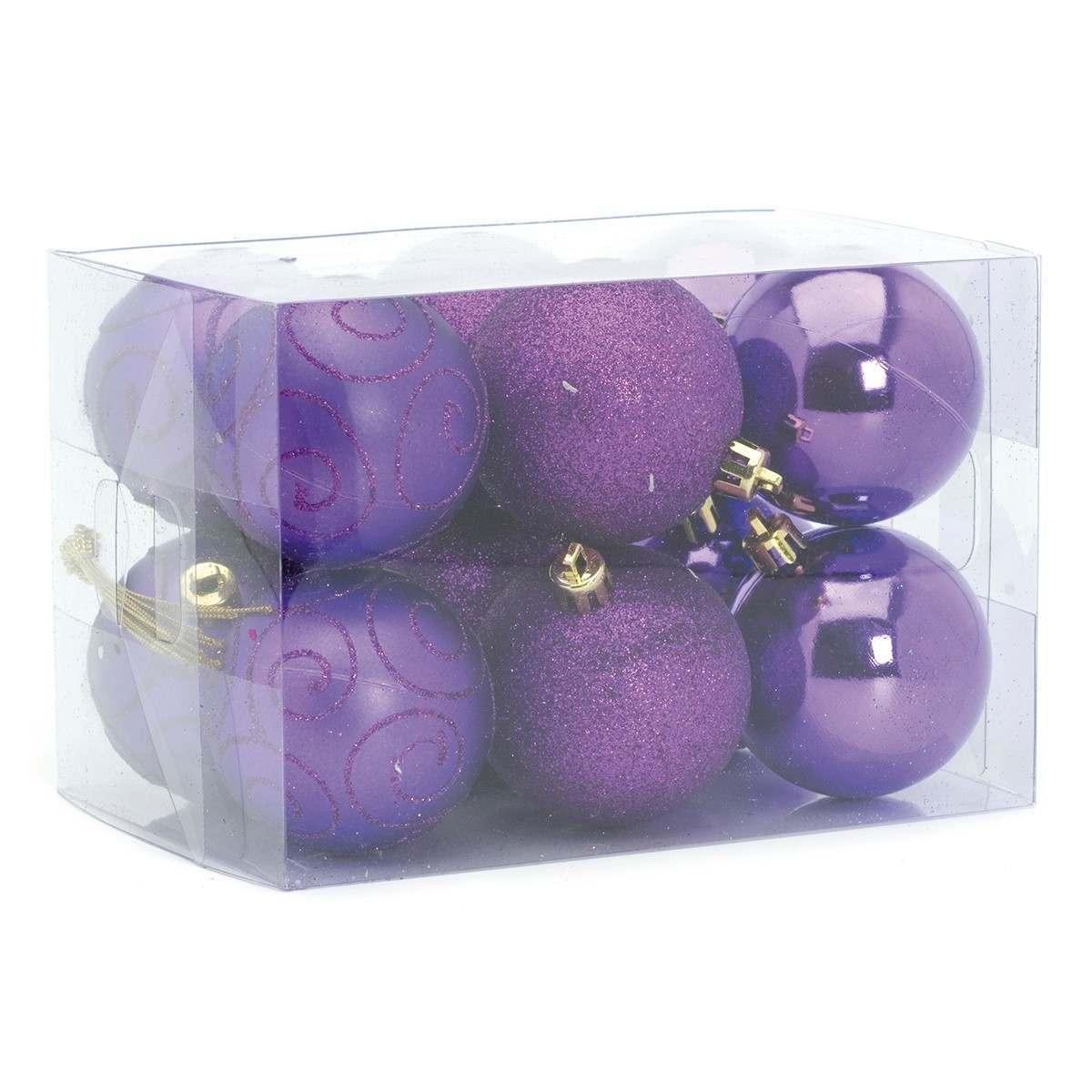 12 x 60m Assorted Matt Shiny Glitter Purple Shatterproof Baubles