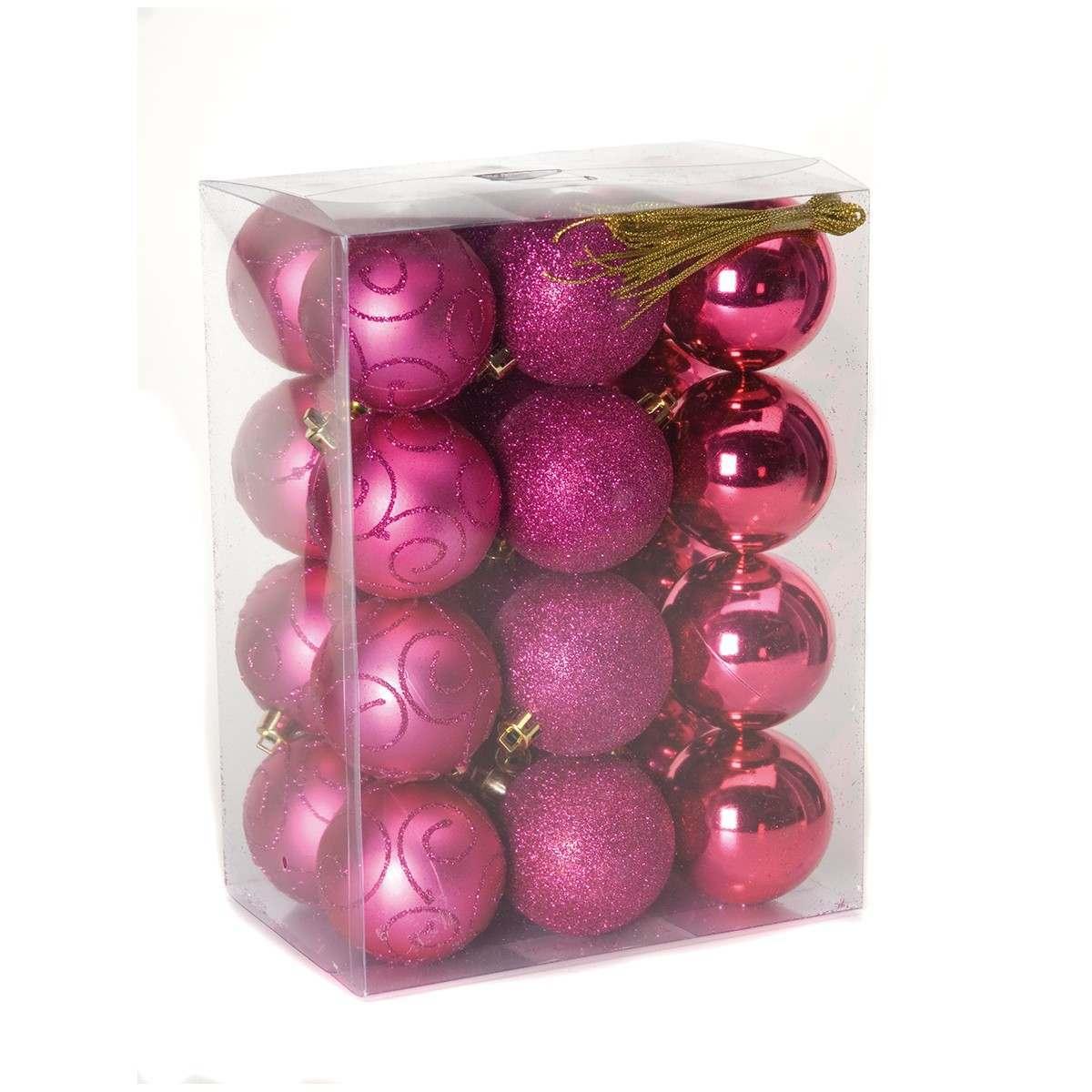 24 x 60mm Assorted Matt Glitter Shiny Flash Pink Shatterproof Baubles