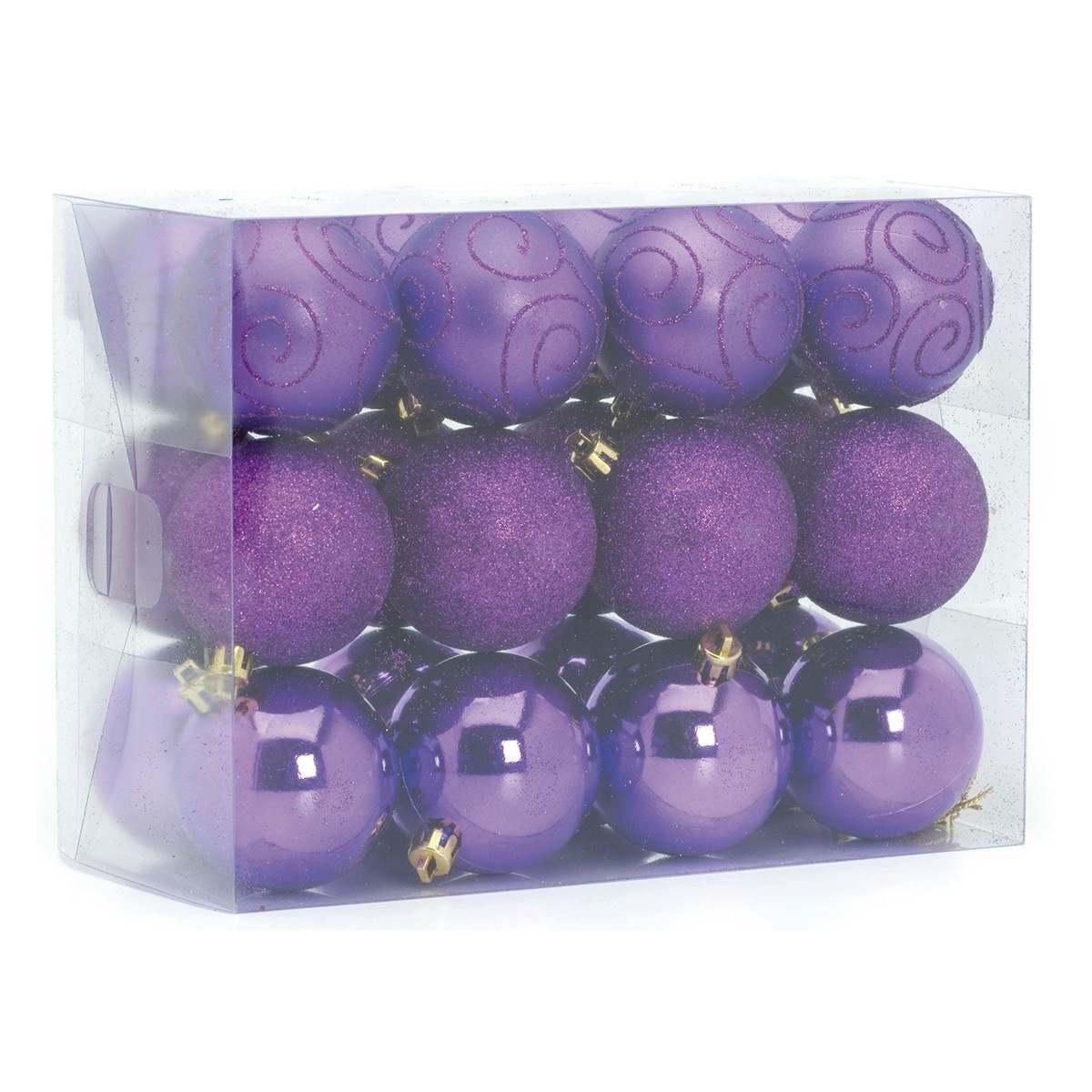 24 x 60mm Assorted Matt Glitter Shiny Regal Purple Shatterproof Baubles