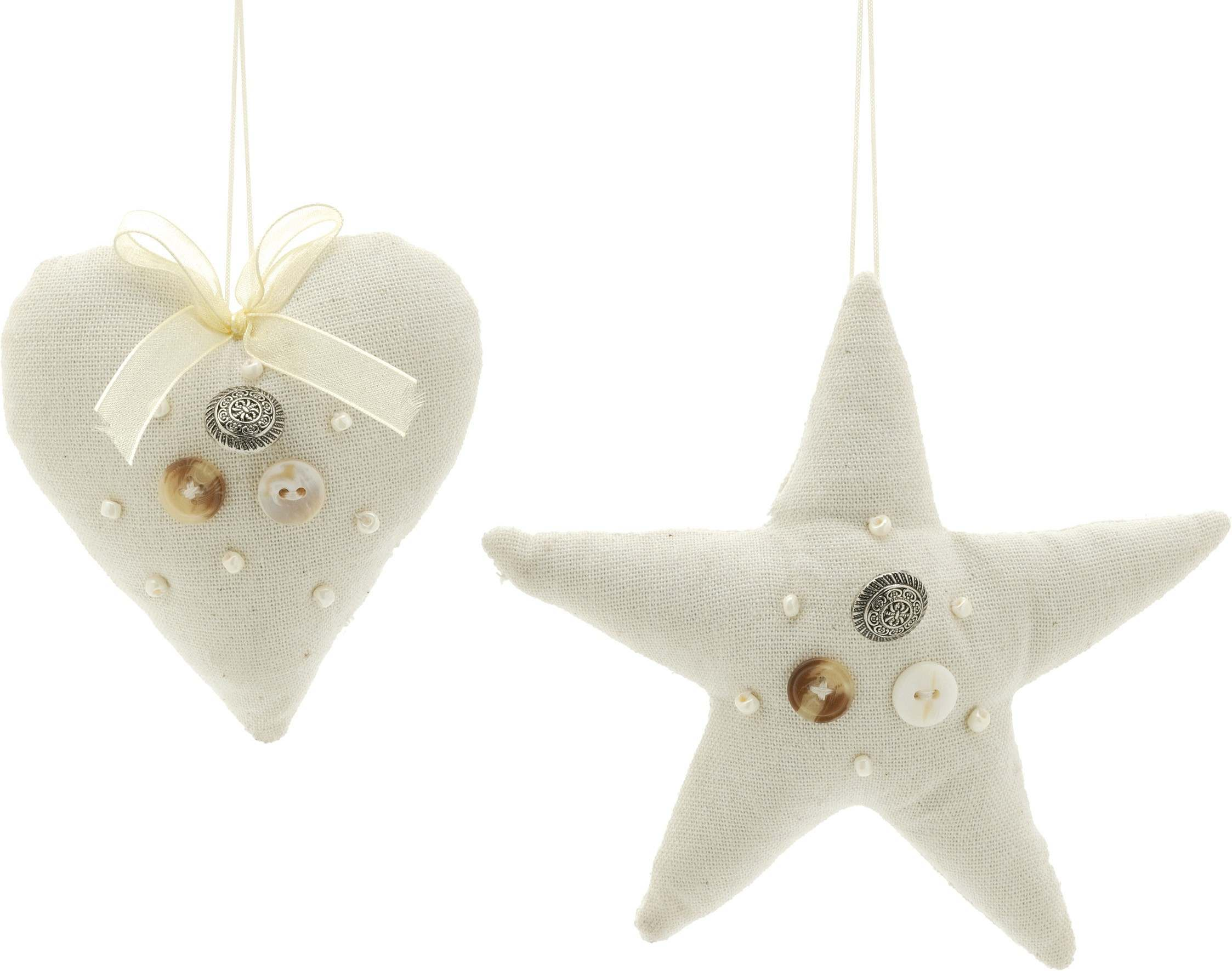 14cm Star Heart Fabric Decorations with Pearl Button Detail 2 Asst`d Designs