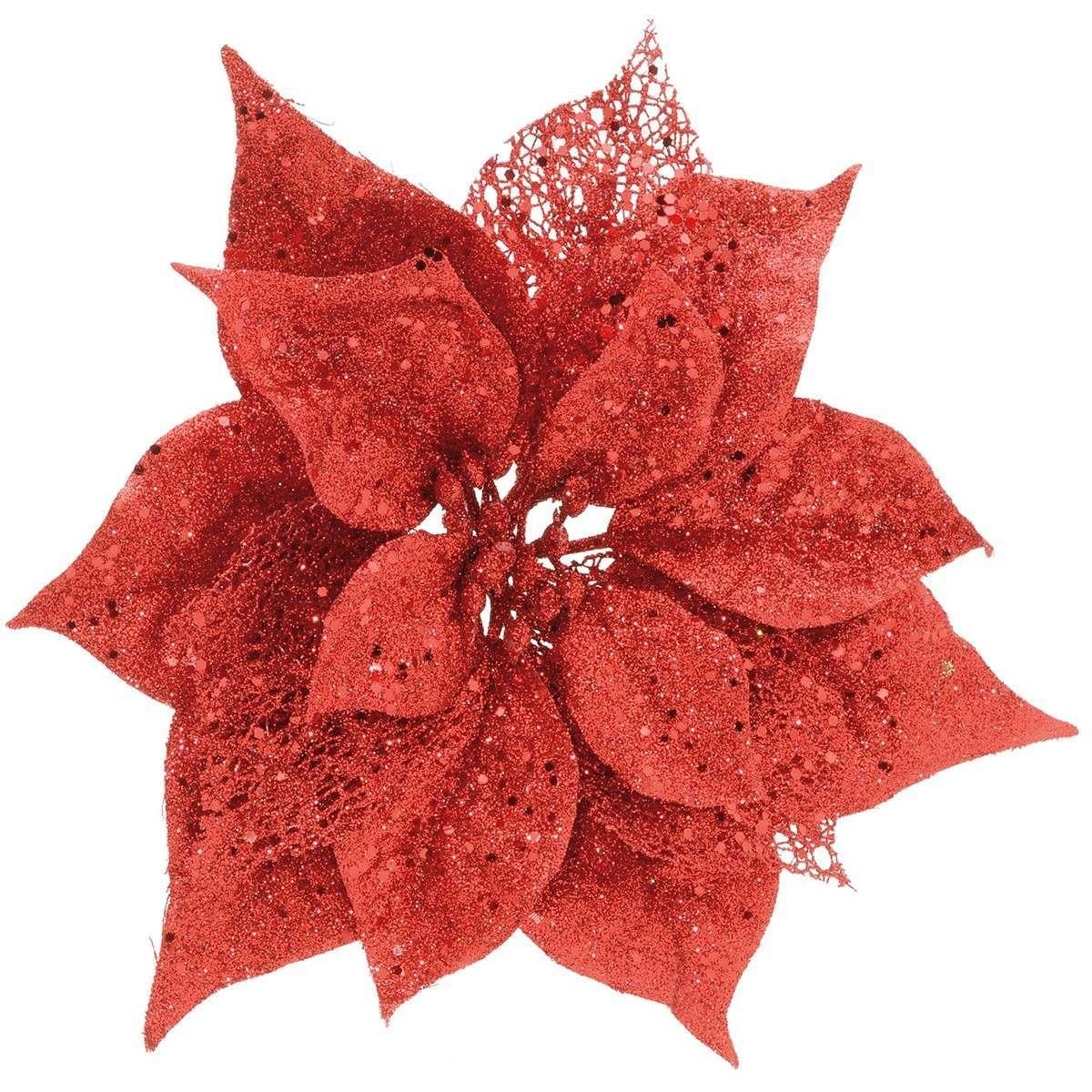 Glitter Clip on Poinsettia Red 23cm