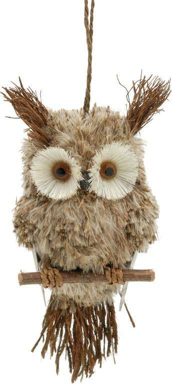 Click to view product details and reviews for 17cm Hanging Owl Sitting On Perch.