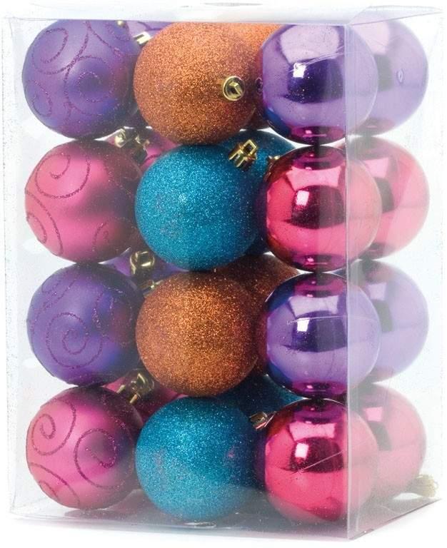 24pcs x 60mm Multi Colour Shatterproof Christmas Tree Baubles