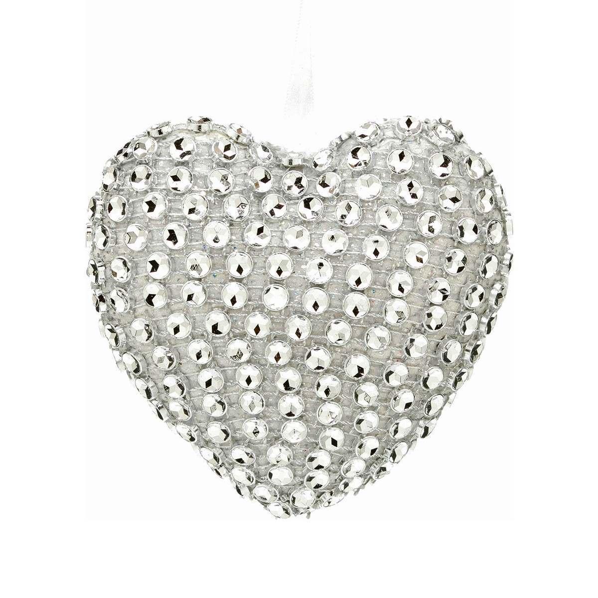 10cm Sparkling Heart Hanging Decoration