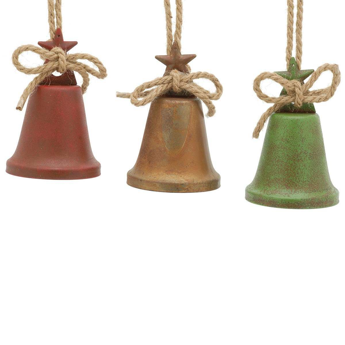 10cm Church Bell Hanging Decorations 3 Asst`d colours Red Green Gold