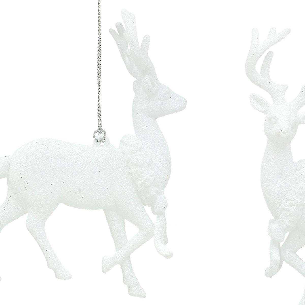 Click to view product details and reviews for 14cm White Glittered Reindeers 2 Asstd Designs.