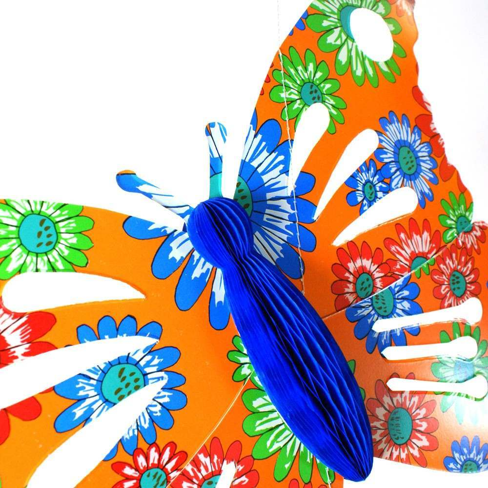 multi colour butterfly with honeycomb paper body 28 x 40cm
