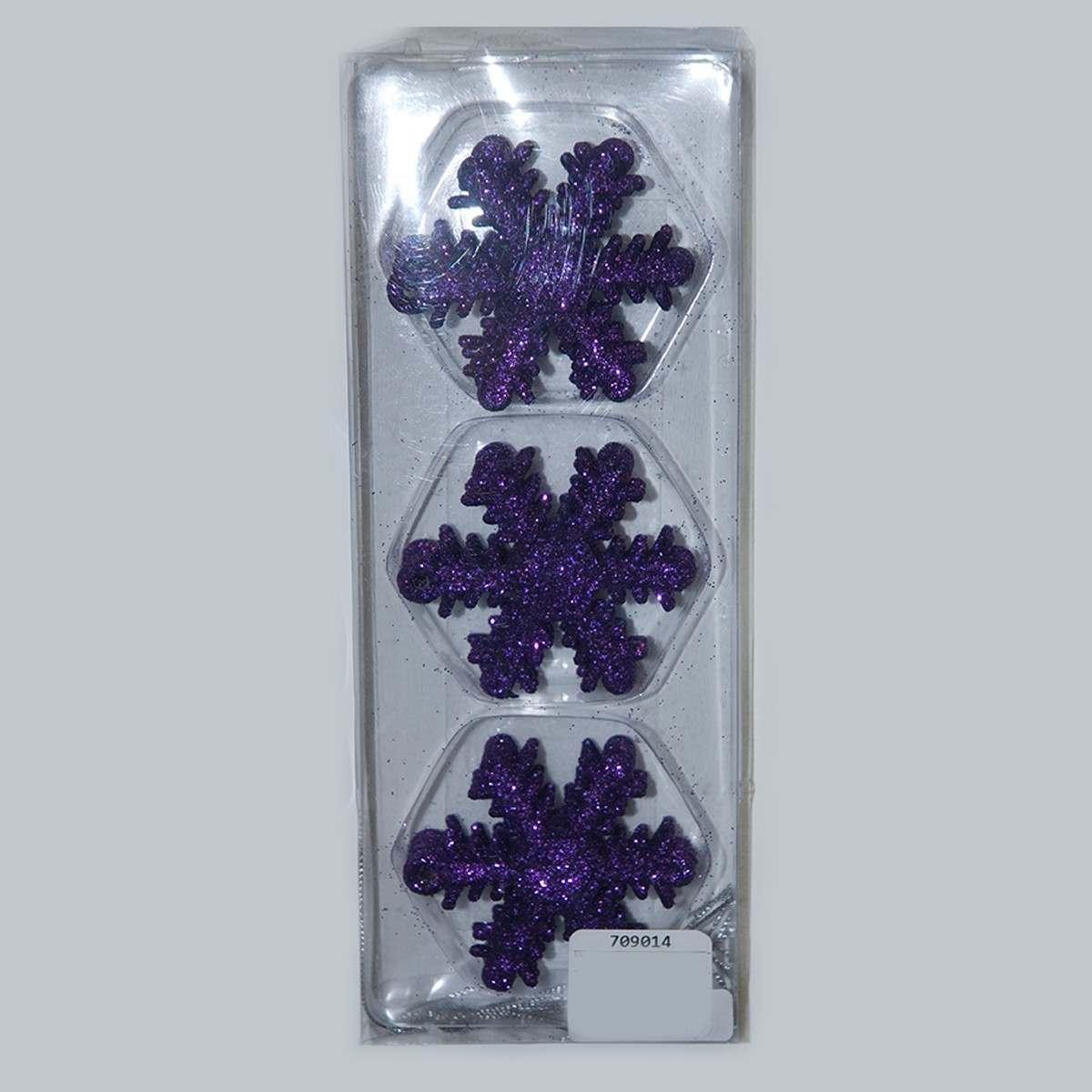 12 x 50mm Royal Purple Shatterproof Snowflakes