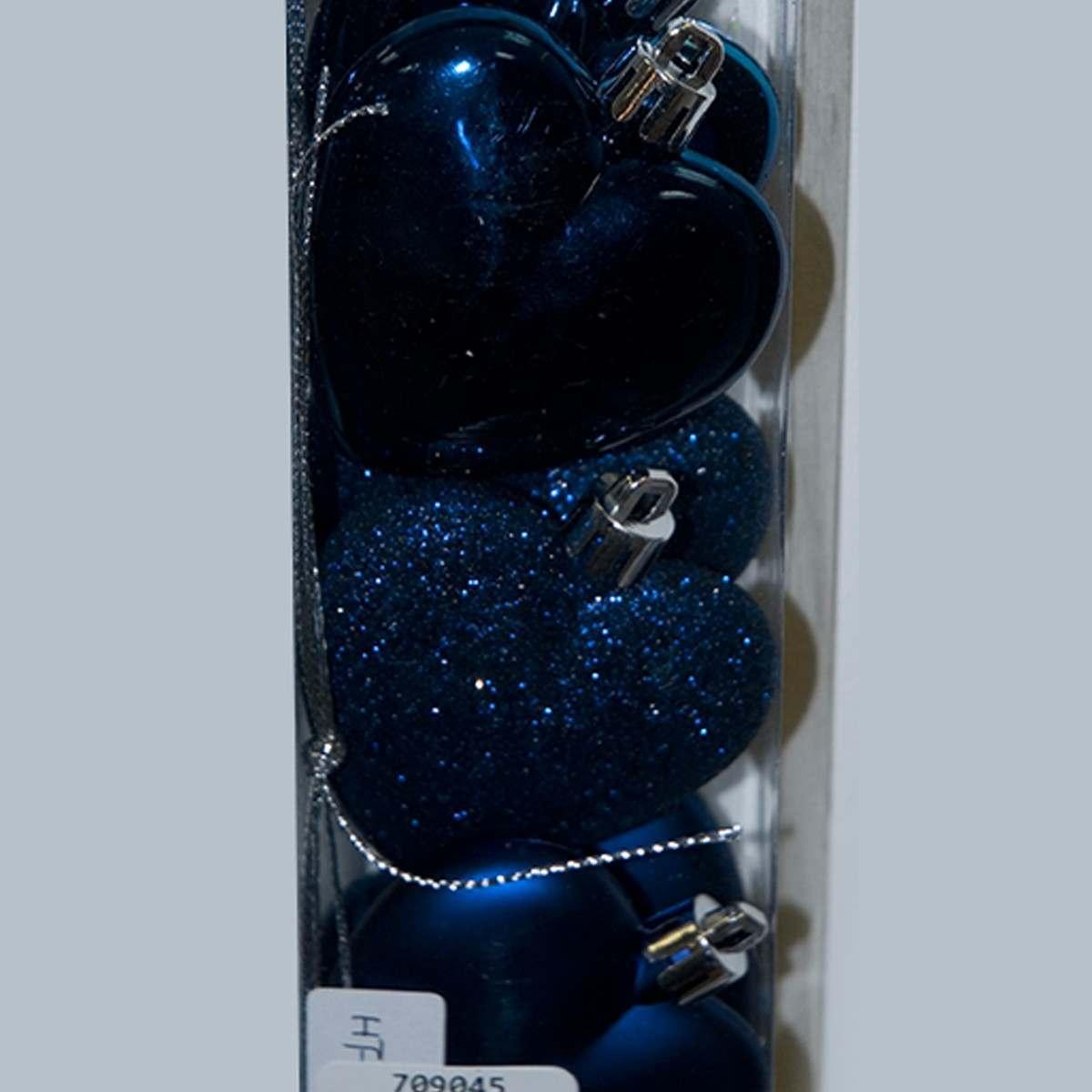 6 x 60MM Assorted Matt Glitter Shiny Midnight Blue Heart Shapes