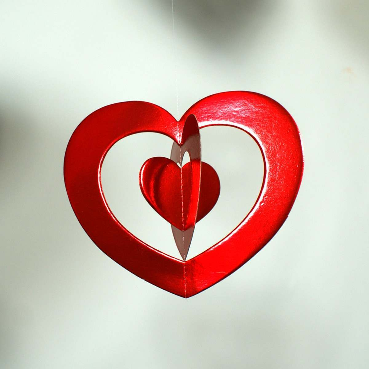 Red Paper Heart Hanging Decoration