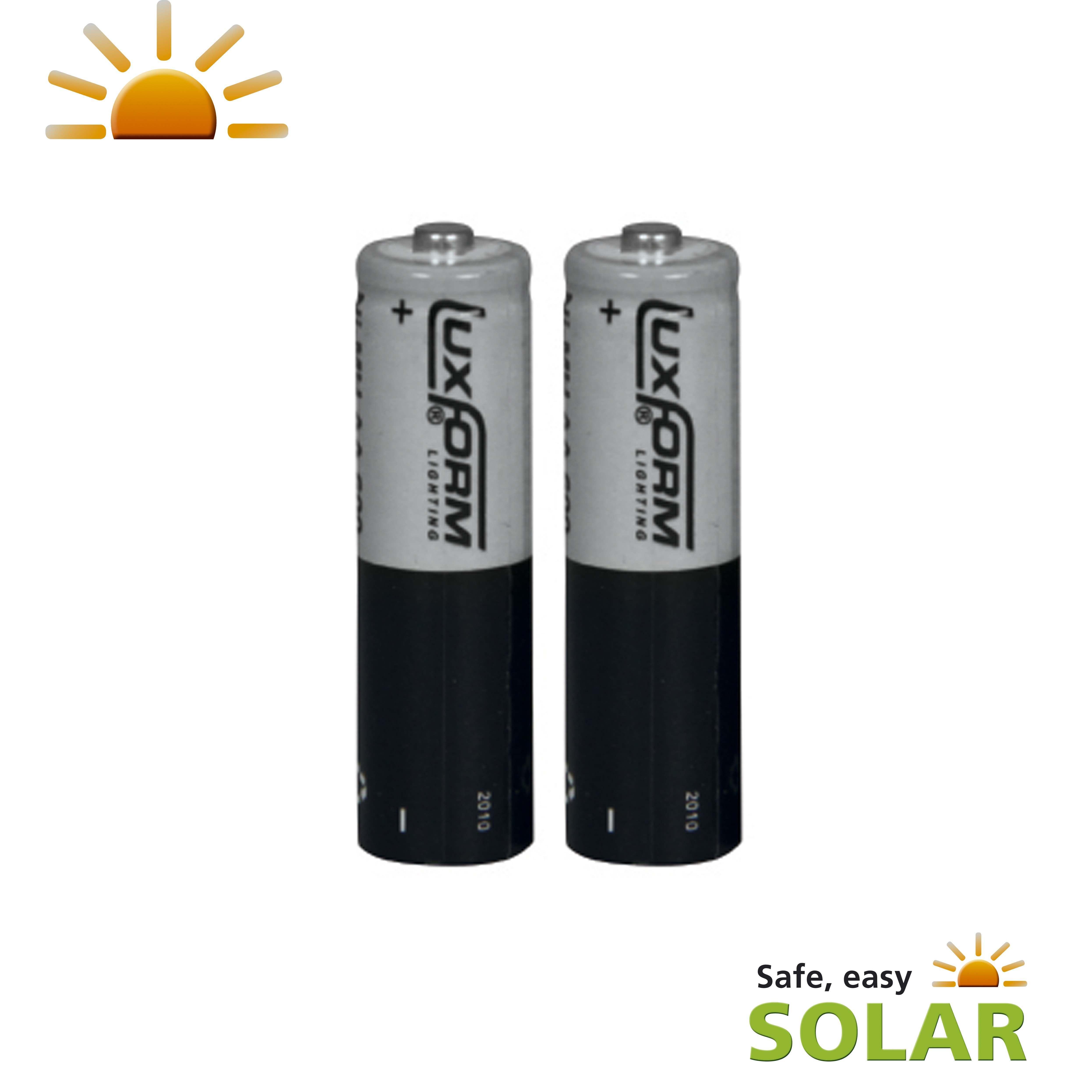 Luxform Solar Rechargeable AA Li-ion 600 mAh Batteries, 3.2V, 2 Pack