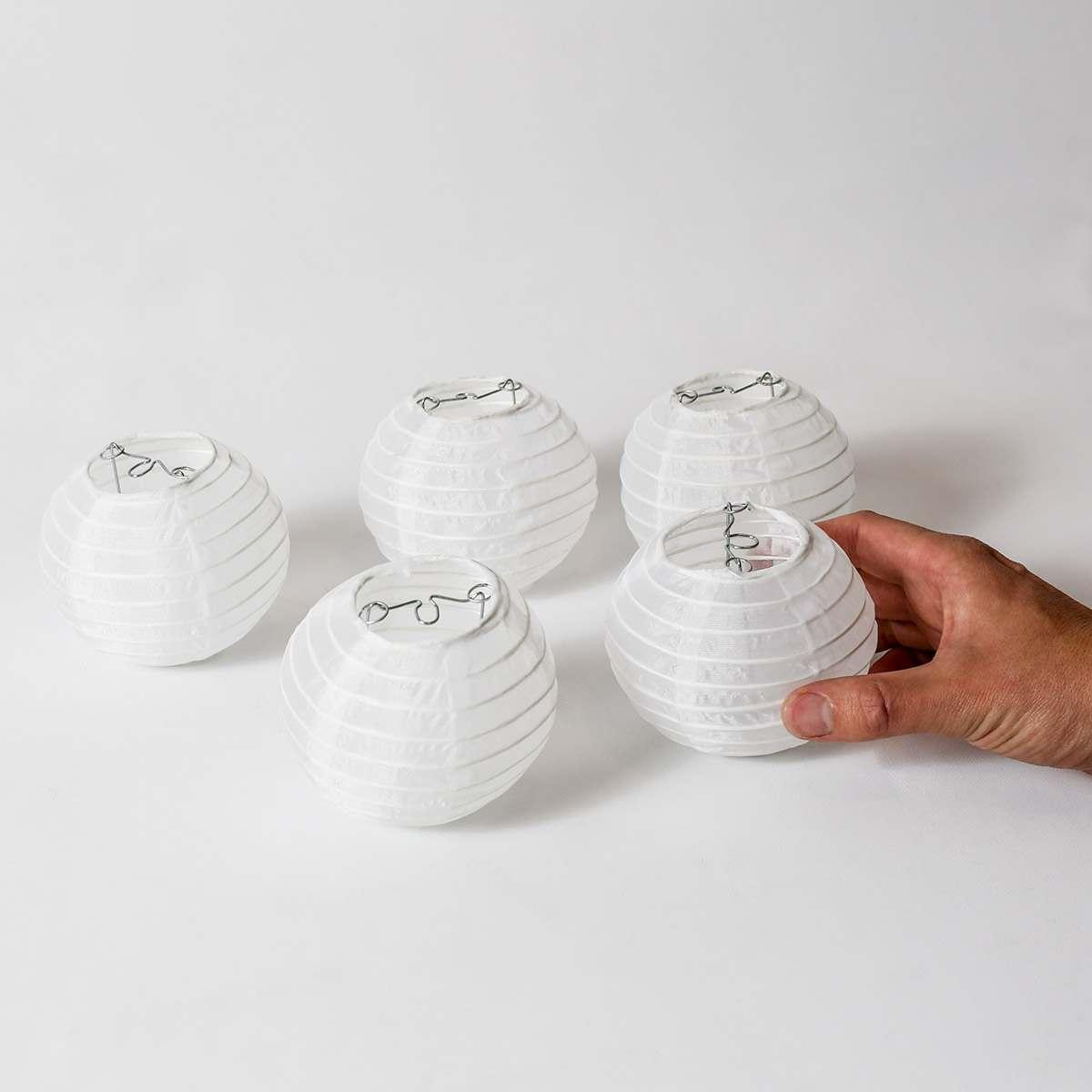10cm White Chinese Lanterns Pack Of 5