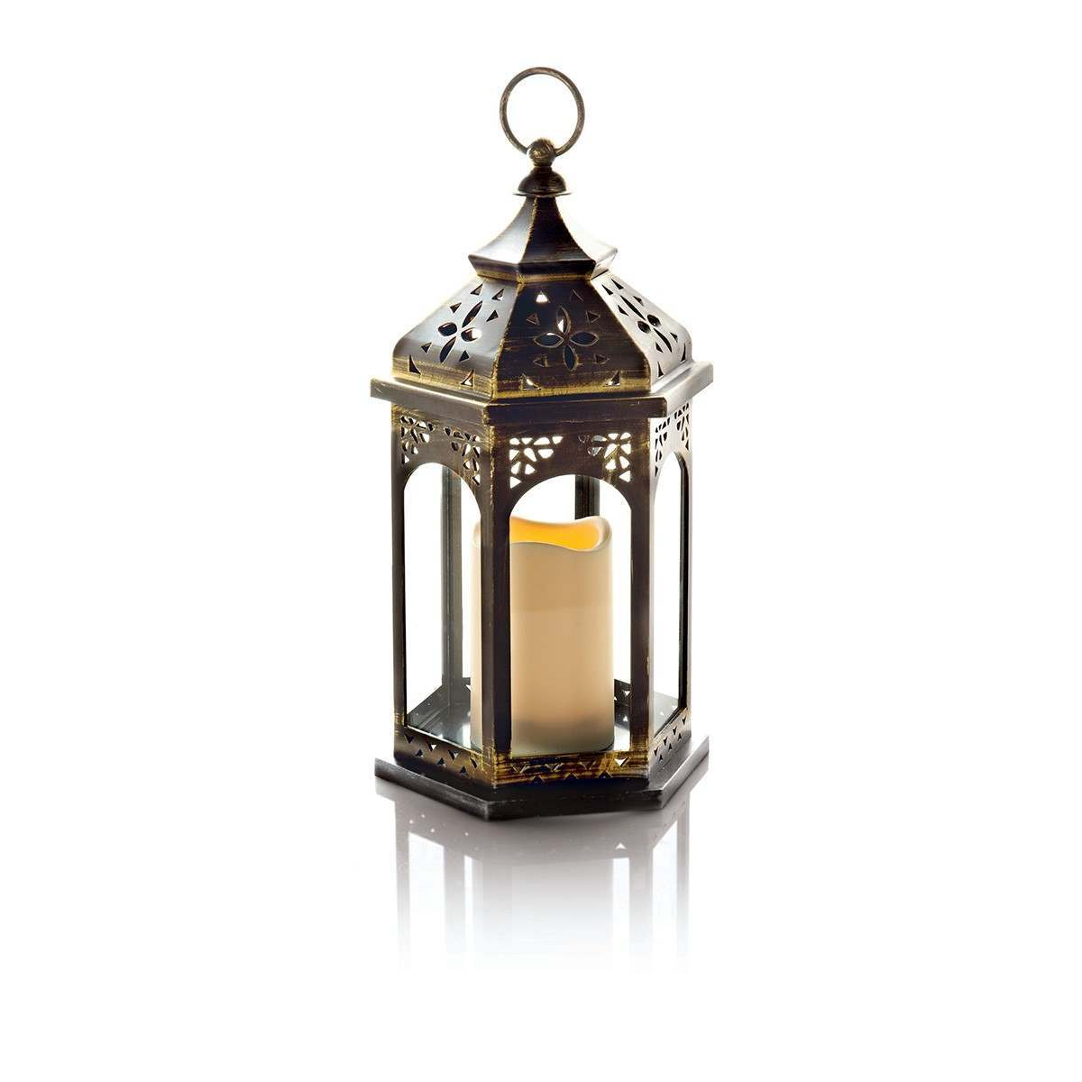 Premier 37cm Antique Gold Lantern with with BO Candle