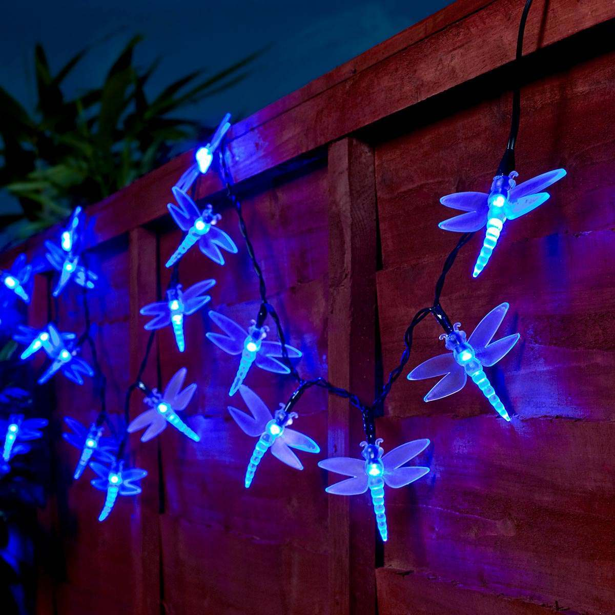 5m Outdoor Battery Dragonfly Christmas Fairy Lights Blue Leds Green Cable