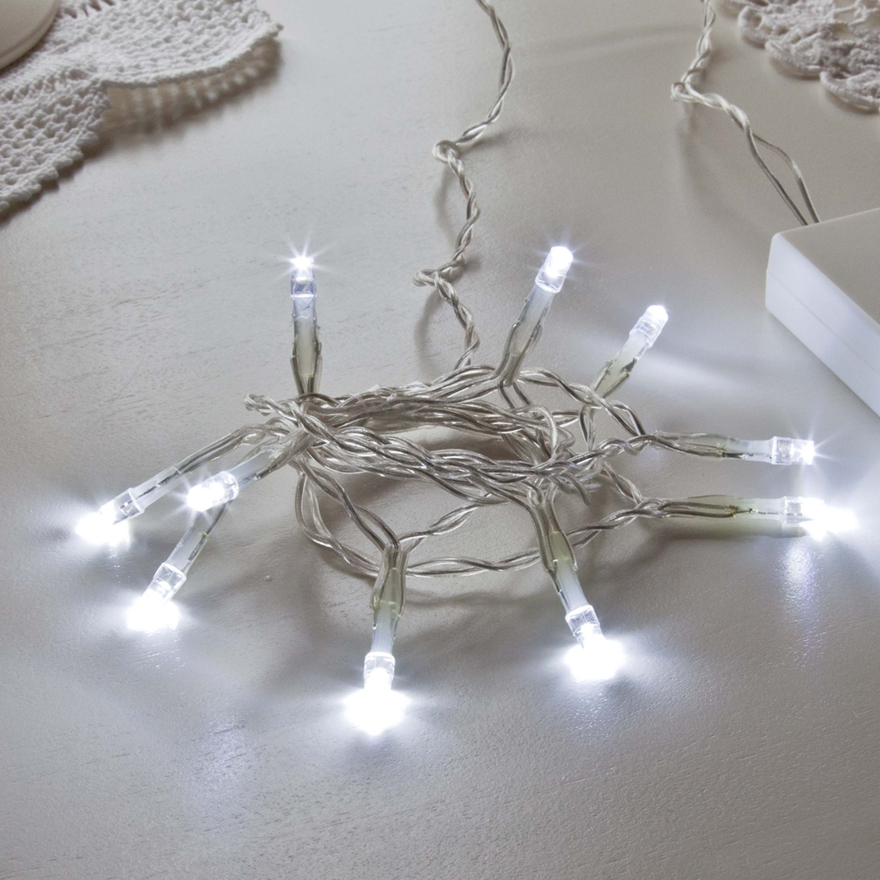 Battery Fairy Lights, 10 LEDs, Clear Cable
