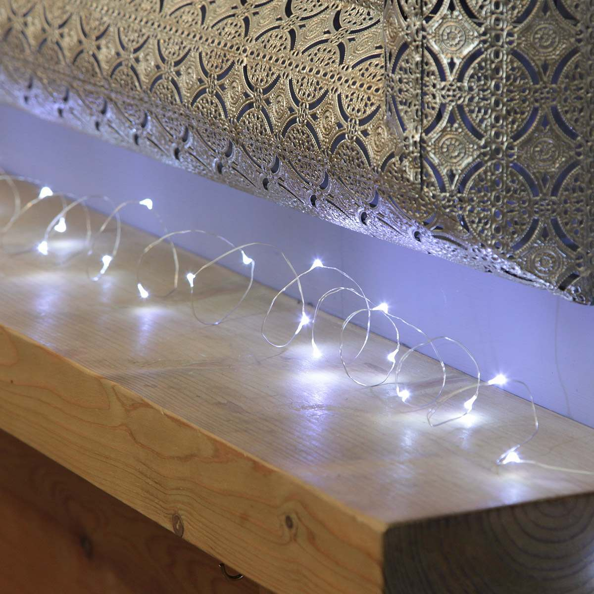 4.5m Plug In Silver Wire Micro Fairy Lights 50 LEDs