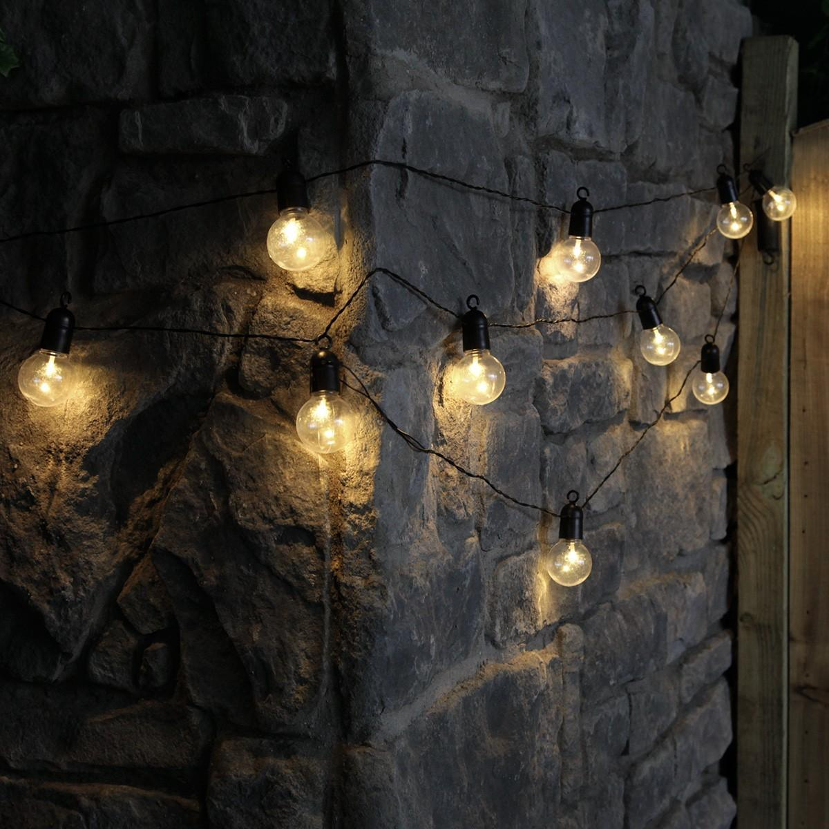 Outside Lights At B M: 4.5m Outdoor Battery Clear Bulb Festoon Lights, 10 Warm