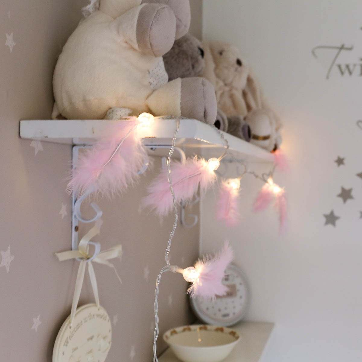 Pink Battery Feather Fairy Lights, 10 Warm White LEDs