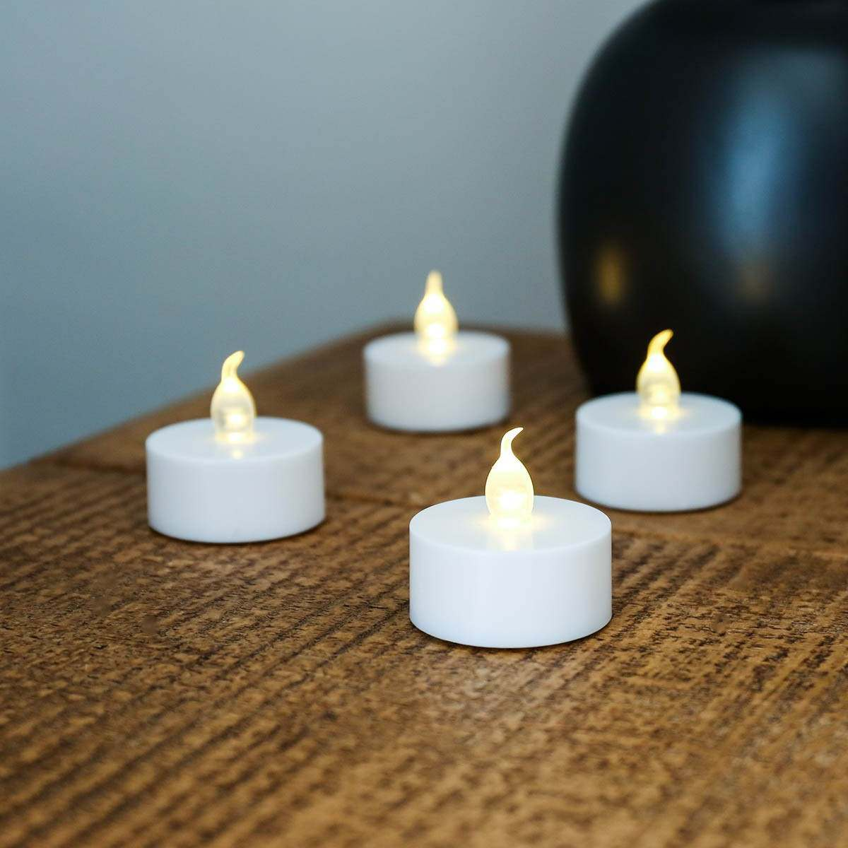 4 Battery Operated LED Flickering Tea Light Candles, White Base