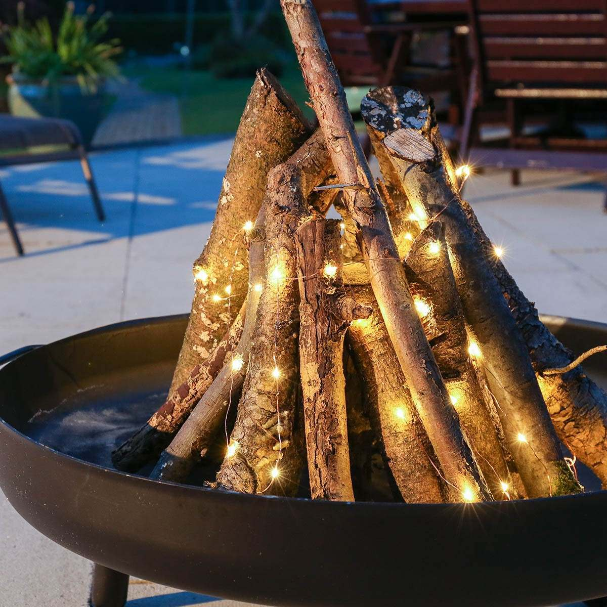 Outdoor Copper Wire Micro Battery Fairy Lights 50 Warm