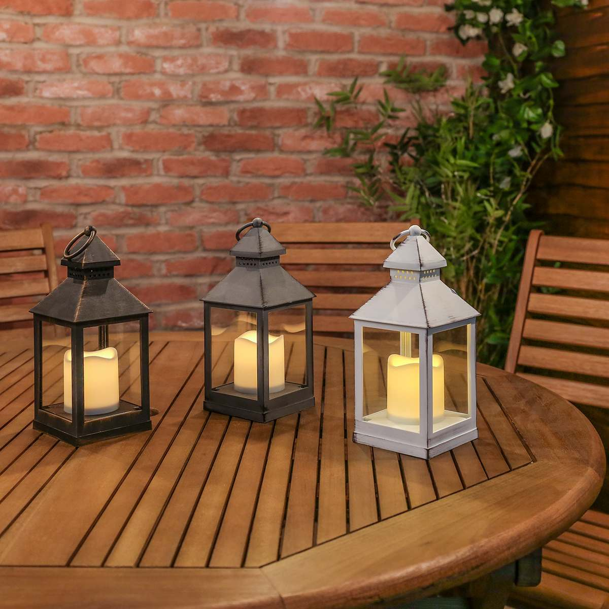Outdoor Battery Flickering Candle Lantern 24cm