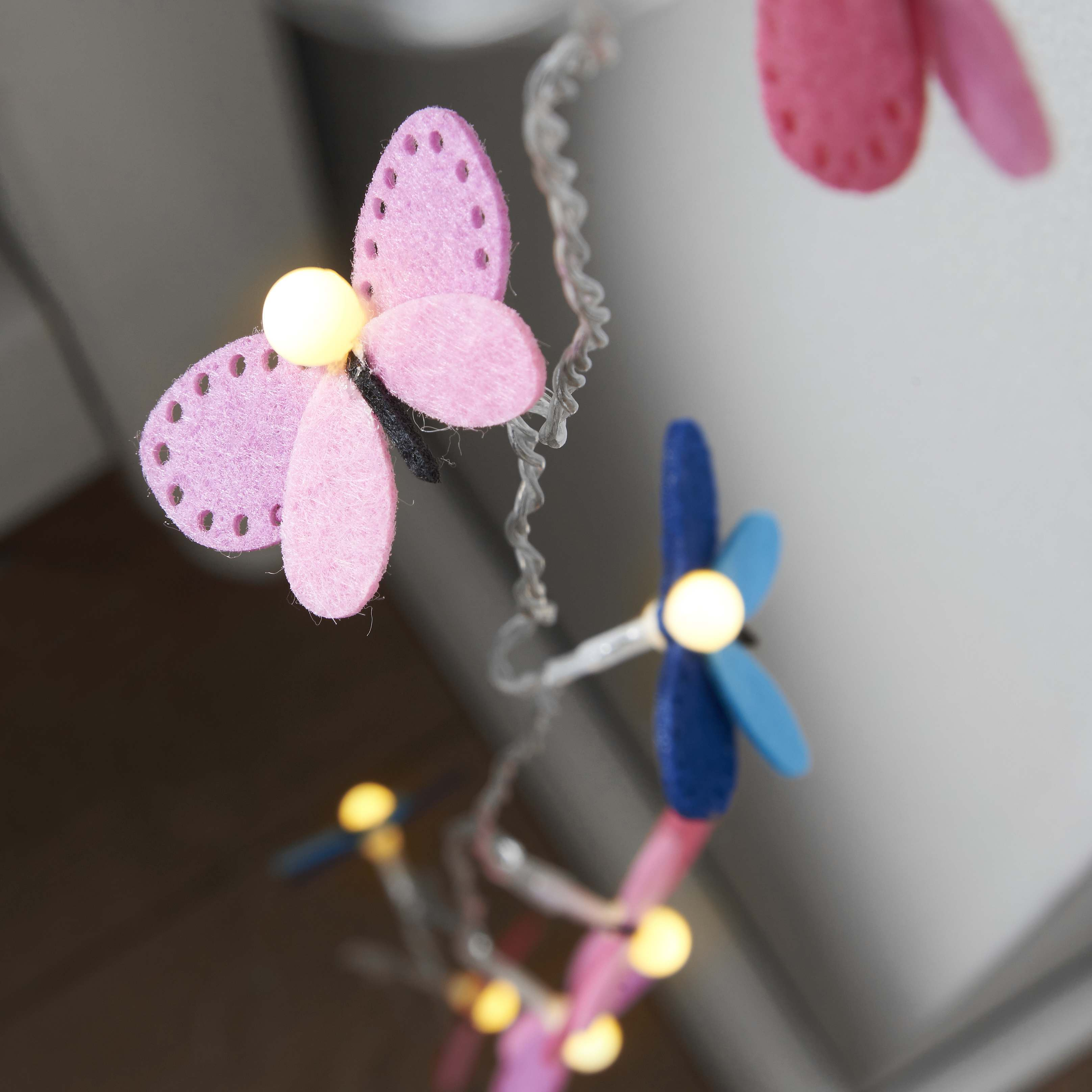 String Lights With Fabric : 10 LED fabric butterfly string lights