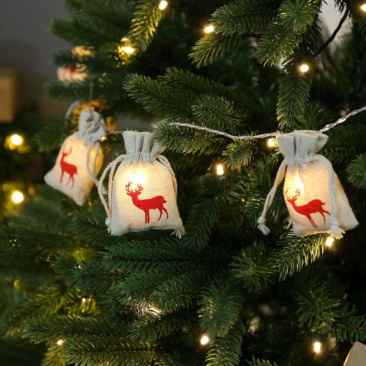 Battery Reindeer Jute Bag Christmas Fairy Lights 10 Warm