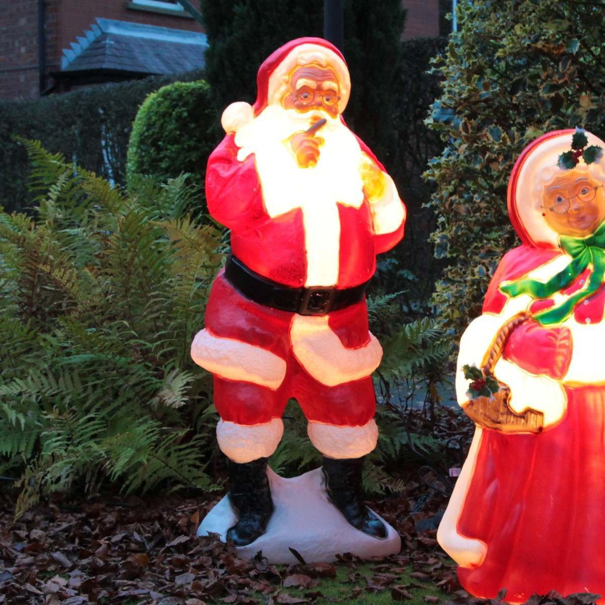 Whispering santa blow mould figure for Outside christmas figures