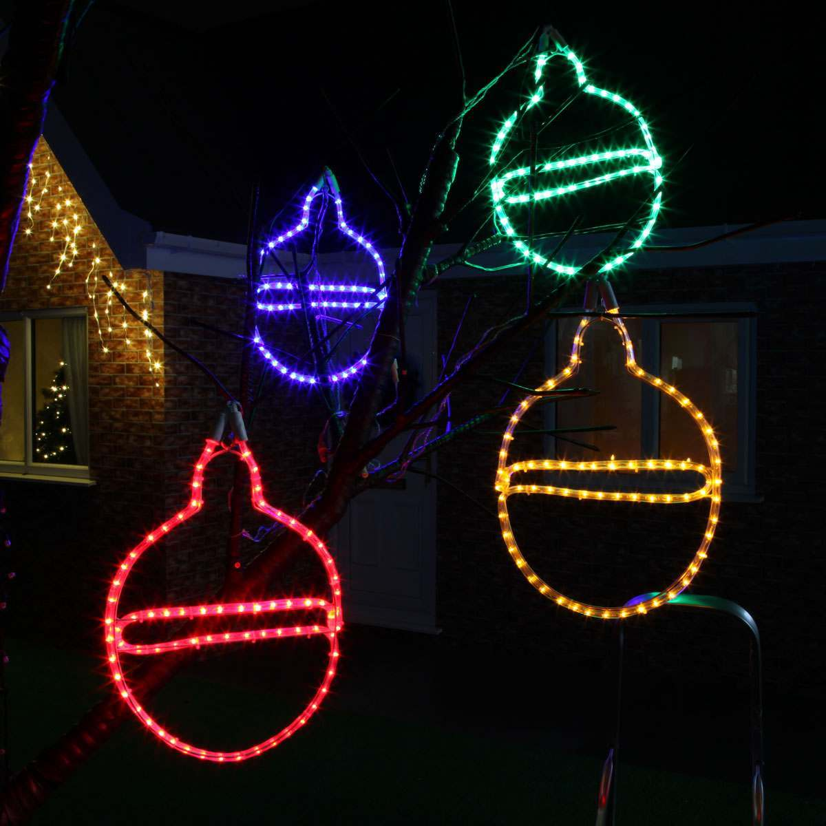 40cm Rope Light Bauble Silhouette, Connectable, 72 LEDs