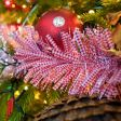 2m Red and White Gingham Tinsel Christmas Tree Decoration