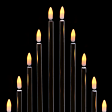26cm Battery Black Candle Bridge, 10 Warm White Bulbs