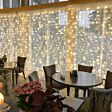 2m x 2m Outdoor Curtain Lights, Connectable, 400 Warm White LEDs, White Cable