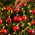 12 x 6cm Red Assorted Finish Christmas Tree Baubles