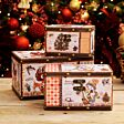 Set of 3 Traditional Christmas Design Storage Boxes