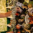 1.1m Green Frosted Cascading Pine Spray Christmas Tree Decoration