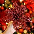 22cm Glitter Clip On Poinsettia Christmas Tree Decoration