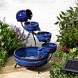 Solar Ceramic Blue Neptune Cascade Water Feature