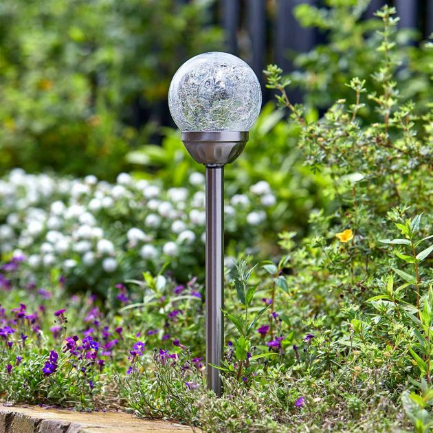 Solar Stainless Steel Crackle Ball Stake Lights, 5 Pack