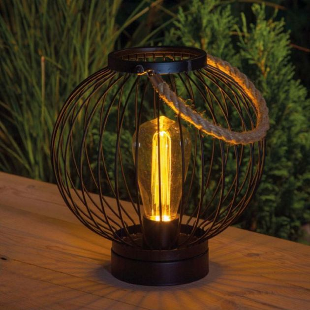 Outdoor Battery Metal Round Lantern