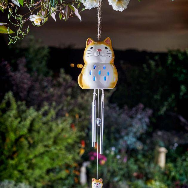 Solar Cat Wind Chime